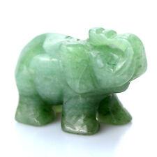 Natural Aventurine Quartz Carving Elephant Gem Stone Crystal Healing Display 70g