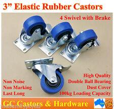 "3""(75mm) Elastic Rubber Castor Wheels,4 Swivel Castors with Brake Trolley Caster"