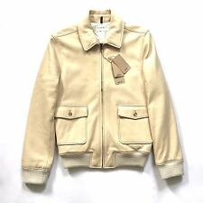 NWT $2.3k A.P.C. Louis W. Men's Beige Lambskin Leather Bomber Jacket L AUTHENTIC