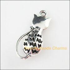2Pcs Tibetan Silver Tone Animal Lovely Cat Charms Pendants 16.5x36mm