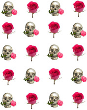 Skull and Pink Rose Waterslide Nail Decals/Nail art