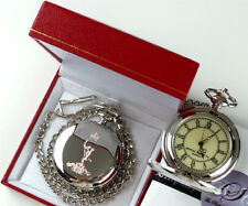 The Royal Corps of Signals Army Crested Silver Pocket Watch Badge in Gift Case