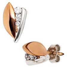 Echte Ohrschmuck aus Rotgold mit Butterfly-Verschluss und Zirkon-Hauptstein