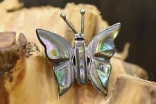 or Brooch Signed with Eagle R150 925 Silver Vintage Mexico Abalone Butterfly Pin