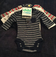 Child of Mine Carters 3pk Long Sleeve Bodysuits. Preemie. Boys
