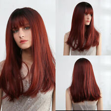 Women Hair Wigs with Bang Synthetic Black Straight Cosplay Brown Red Blue Ombre