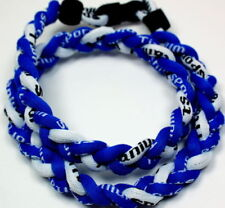 "NEW! BASEBALL Titanium Tornado Sports Necklace 20"" Royal Blue White 3 Rope"