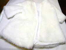 """Fake Faux White Fur Doll Coat 6"""" Shoulder - Shoulder 11-1/2"""" Long"""
