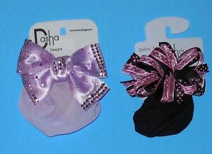 NEW Dasha PINK POLKA DOT/ BLACK & PURPLE RHINESTONE Snood Bun Holders Girls