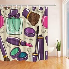 Paris Fashion Cosmetic Lipstick Waterproof Fabric Shower Curtain & 12 Hooks 71""