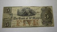 $5 1846 Columbus Georgia GA Obsolete Currency Bank Note Bill! St. Marys Bank!