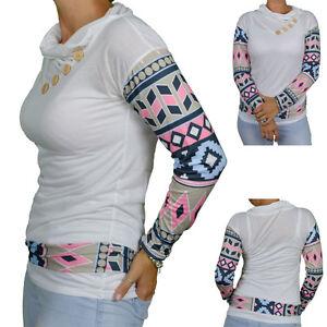 Womens Long Sleeve White Tribal Geometric Print O Neck Patchwork Winter 2016