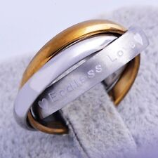"""Fashion Cool 18K yellow White Gold Filled Three Mens """"love""""Ring Size 7"""
