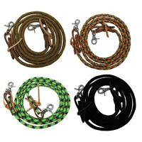 "Tahoe Tack Nylon Horse Barrel Reins with USA Leather Ends 3/8"" x 8' Super Sale"
