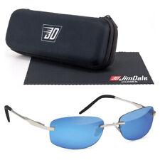 Schmale flache Biker Sonnenbrille Silber Blau verspiegelt UV400 Metall Herren
