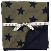 NWT Carters Navy Blue And Army Green Stars Micro Fleece Baby Receiving Blanket