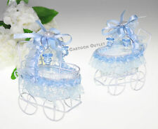 12 PC BABY SHOWER STROLLER CARRIAGE DECORATED BLUE RECUERDOS CARIOLA AZUL BOY