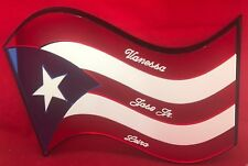 Puerto Rico Flag Wall Plaque Personalize Wall Hanging Mirror Engraved Wall Decor