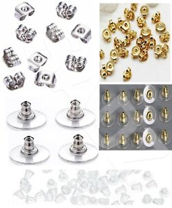 Metal Plastic, Silicone, Butterfly Earring Backs Stoppers Caps Soft UK Seller