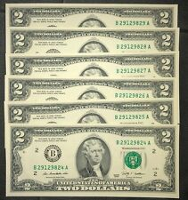 6 Consecutive 2009 Uncirculated 2 Two Dollar Bills - Six Mint Sequential Notes
