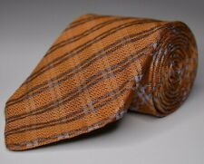 * Robert Talbott * Orange W/ Blue Geometric Silk Hand Sewn Necktie