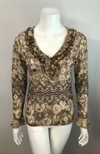 INC International Concepts Petite Beige Brown Floral Lace Ruffle Top Size SP