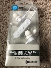 Onn Bluetooth In-Ear Headphones (White) Built-in Microphone Hands-Free Usb cable