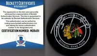 BECKETT-BAS PATRICK SHARP AUTOGRAPHED-SIGNED BLACKHAWKS REAL GAME HOCKEY PUCK 91