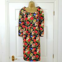 Joe Browns Black Multi Vintage Floral Print Stretch Tea Dress Size 20 Red Green