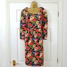 Joe Browns Black Multi Vintage Floral Print Stretch Tea Dress Size 20 Red Green