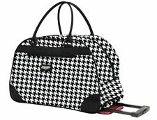 NEW KATHY VAN ZEELAND BLACK HOUNDSTOOTH WHEELED DUFFLE LUGGAGE CITY BAG $120