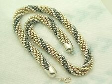 Estate Sterling Silver and 14K Gold FIll GF Ball Bead Multi Strand Necklace