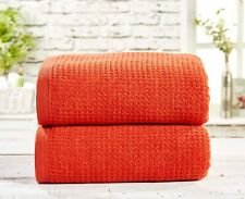 """Rapport 100% Cotton """"Waffle"""" 2 Pack Bath Sheets Towel 4 Colours Available"""