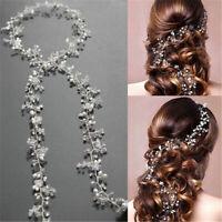 Pearl Hair Vine Wedding Crystal Bridal Accessories Diamante Headpiece - 35CM