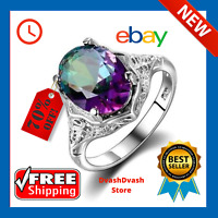 Genuine Rainbow Fire Mystic Topaz Ring 925 Sterling Silver Ring Fine Jewelry