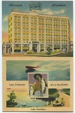 HOT SPRINGS NATL PARK, AR LINEN POSTCARD Hotel Como - Al's in the Middle