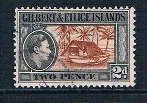 Gilbert & Ellice Islands 1939 KGVI 2d Canoe and boat house o/FU SG 46