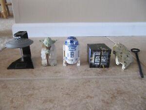 5 Star Wars toys, Yoda, R2D2, Princess Leia, Millennium Falcon, Cloud City, Cube