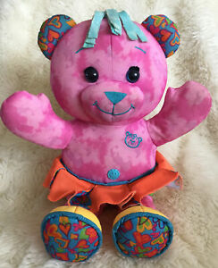 """Vintage 90s Tyco Toys Doodle Bear Plush Pink Bear 17"""" Colorful Girl"""
