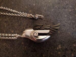 King Baby Studio Streamline Goddess Pendant Carved Jet Wing .925 Silver w/ Chain