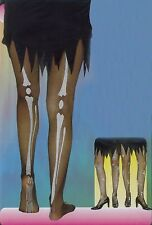 NEW LADIES SKELETON BONE TIGHTS HALLOWEEN FANCY DRESS COSTUME ACCESSORIES ADULTS