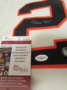 WILLIE MAYS SIGNED JSA GIANTS JERSEY BEAUITFUL SIGNATURE DOUBLE CERTIFICATION