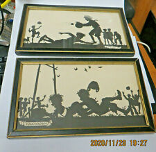 TWO SILHOUETTE SPORT PRINTS BY BUCKBEE BREHM.  BLACK FRAMES WITH GLASS.  VINTAGE