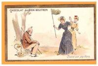 IMAGE Chromo CHOCOLAT GUERIN BOUTRON / Bourgeoise à la CHASSE aux PAPILLONS
