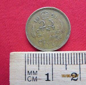 Ceylon 25 Cents 1951 - II
