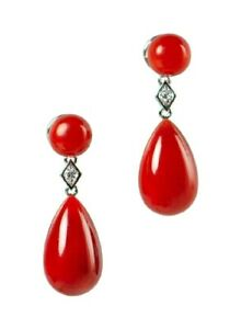Natural red aka coral and diamond earrings