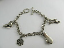 "Sterling Silver Toggle Bracelet 4 Winter Theme Charms 7 1/4"" Xlnt Cond"