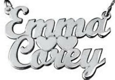 PERSONALIZED STERLING SILVER TWO 2 NAMES  NAME PLATE CHAIN NECKLACE W/HEARTS