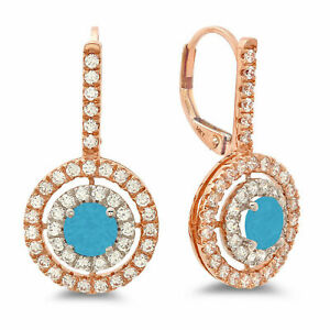 2.4 Round Halo Drop Dangle Turquoise 18k White Rose Gold Earrings Lever Back