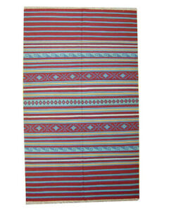 Rugs Dhurrie Home Décor Carpet 7x12 ft Red Color Wool Kilim Striped Floor Mat